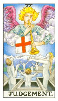 The Judgement tarot card (Universal Waite)