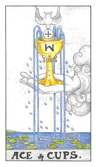 The Ace of Cups tarot card from the Universal Waite deck