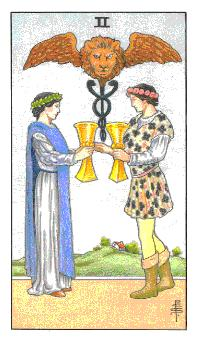 The Two of Cups tarot card from the Universal Waite deck
