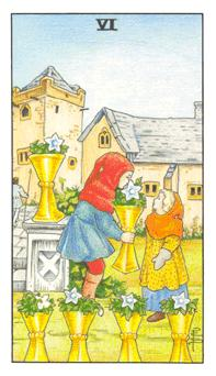 The Six of Cups tarot card from the Universal Waite deck