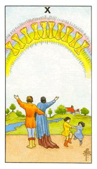 The ten of cups tarot card from the Universal Waite deck