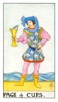 The page of cups tarot card from the Universal Waite deck