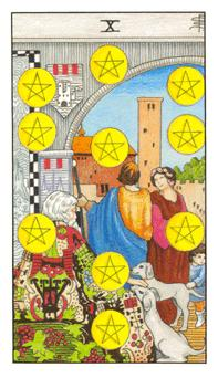The ten of pentacles tarot card from the Universal Waite deck