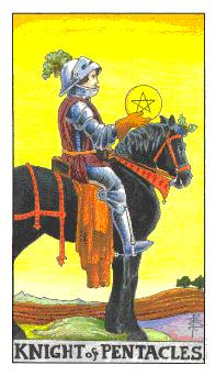 The knight of pentacles tarot card from the Universal Waite tarot deck