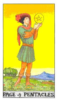 The page of pentacles tarot card from the Universal Waite deck