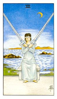 The Two of Swords tarot card from the Universal Waite deck