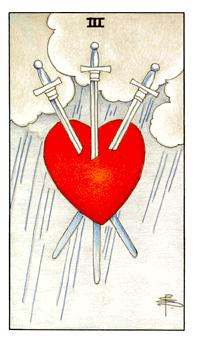 The Three of Swords tarot card from the Universal Waite deck