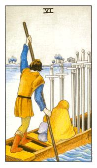 The Six of Swords tarot card from the Universal Waite deck