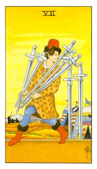 The seven of swords tarot card from the Universal Waite deck