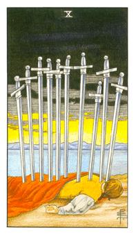 The ten of swords tarot card from the Universal Waite deck