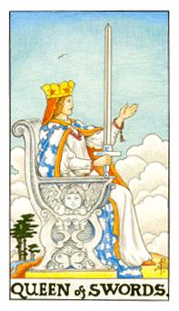 The queen of swords tarot card from the Universal Waite deck