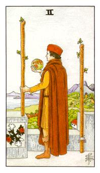 The Two of Wands tarot card from the Universal Waite deck