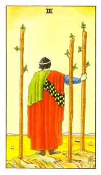 The Three of Wands tarot card from the Universal Waite deck