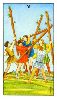 The Five of Wands tarot card from the Universal Waite deck