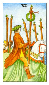 The Six of wands tarot card from the Universal Waite deck