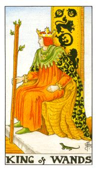 The king of wands tarot card from the Universal Waite deck