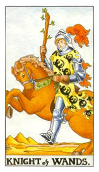 The knight of wands tarot card from the Universal Waite deck